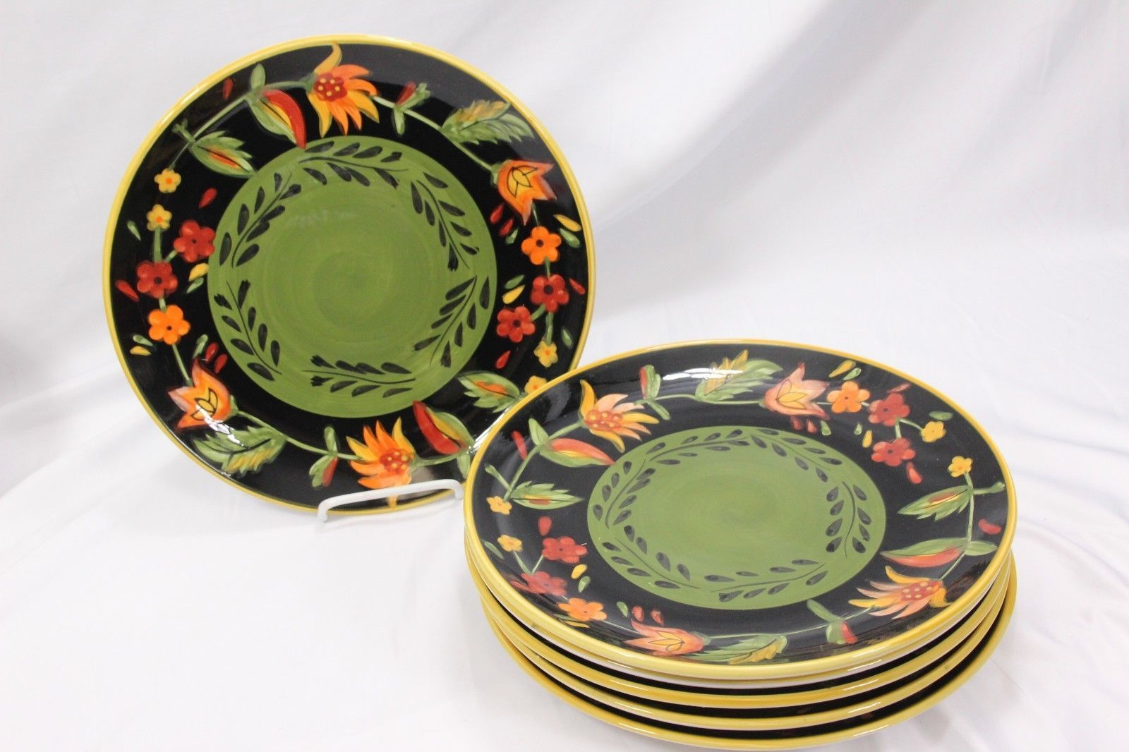 222 Fifth Arabian Flower Dinner and Salad Plates Lot of 11 Hand Painted image 2