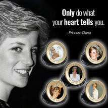 WR 5pcs Princess Diana Gold Colored Coin 20th Anniversary Set For Lady - $12.42