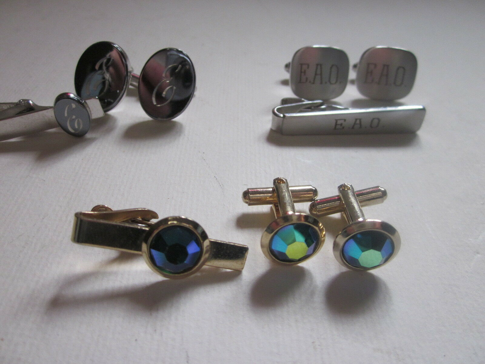 Primary image for 3 VINTAGE MEN'S CUFFLINK & TIE CLIP SETS ONE HAS E INSCRIBED