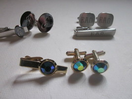 3 VINTAGE MEN'S CUFFLINK & TIE CLIP SETS ONE HAS E INSCRIBED - $9.99