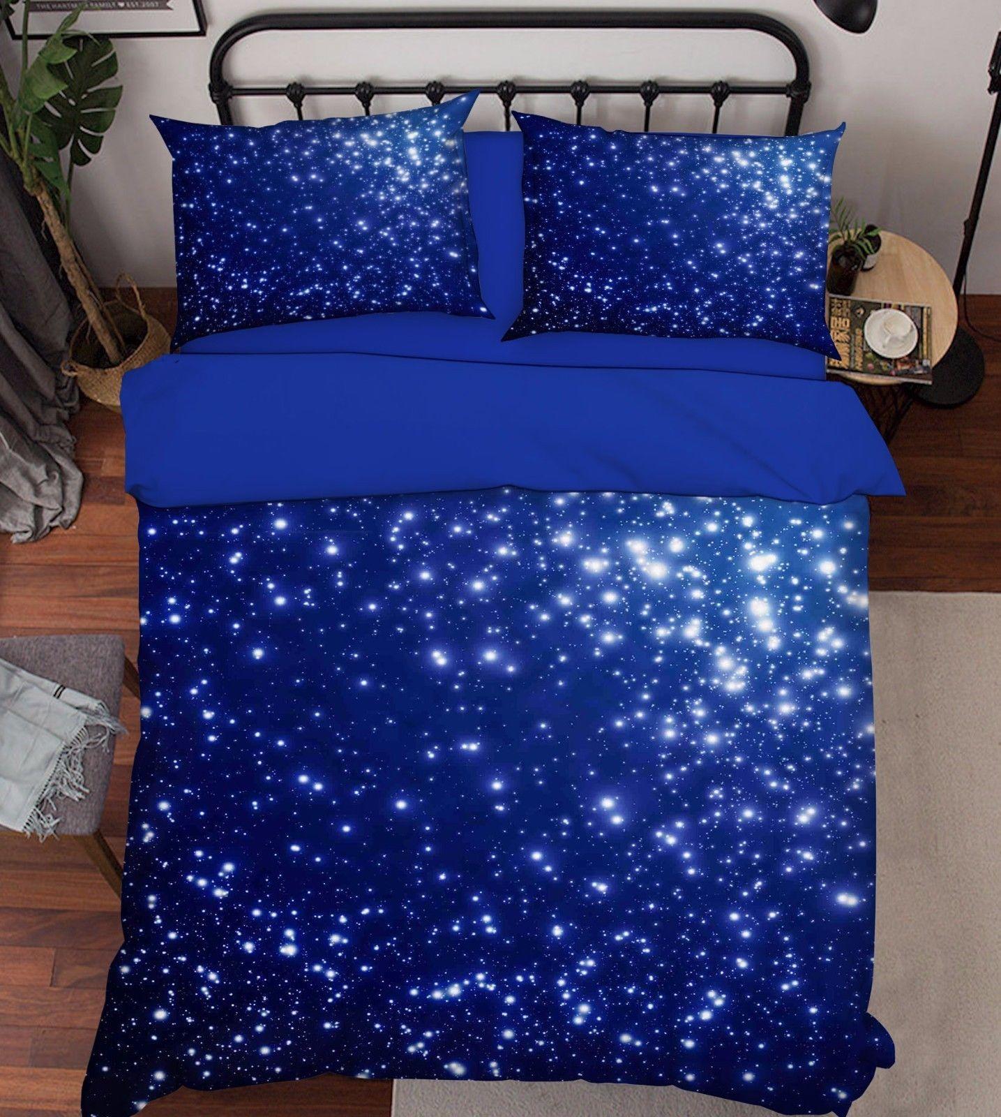 3D Shiny Stars 2 Bed Pillowcases Quilt Duvet Cover Set Single Queen King Size AU - $64.32 - $96.47