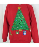 Vintage 80s 90s Hand Painted Red Ugly Christmas Sweatshirt 50/50 Large M... - $39.55
