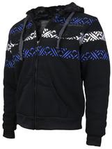 EKZ Men's Graphic Geo Tribal Fleece Lined Zip Up Sherpa Hoodie Jacket image 2