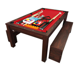 7Ft Pool Table Billiard Red become a dinner table with benches - m. Rich... - $1,899.00