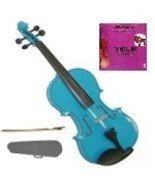 Crystalcello 1/32 Size Blue Violin with Case, Bow, Rosin+Extra E String - $37.00