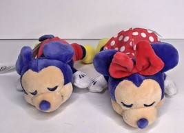 Disney Minnie Mickey Mouse Set Cuddleez Plush Purple Sleeping Closed Eye... - $19.26