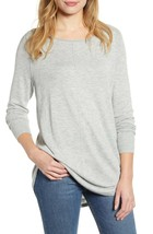 NEW Caslon S Small Seam Detail Shirttail Tunic Sweater Pullover Grey $69 - $22.06