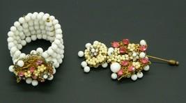 Miriam Haskell Pink Rhinestone White Milk Glass Beaded Bracelet Pin Unmarked Set - $296.99