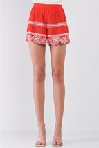 Red & White Floral Embroidery High Waist Summer Mini Shorts - $31.99