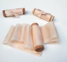 Silk ribbon, Peach, hand-dyed silk ribbon - $11.10+