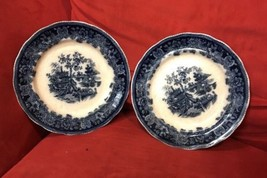 Pair of Antique Shanghai Historical Flow Blue Plates by Wade England 9.7... - $29.39