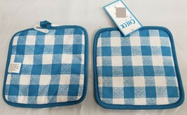"Set of 2 XL Same Printed Reverse Potholders,9""x9"", BLUE & WHITE CHECKERS... - $10.88"