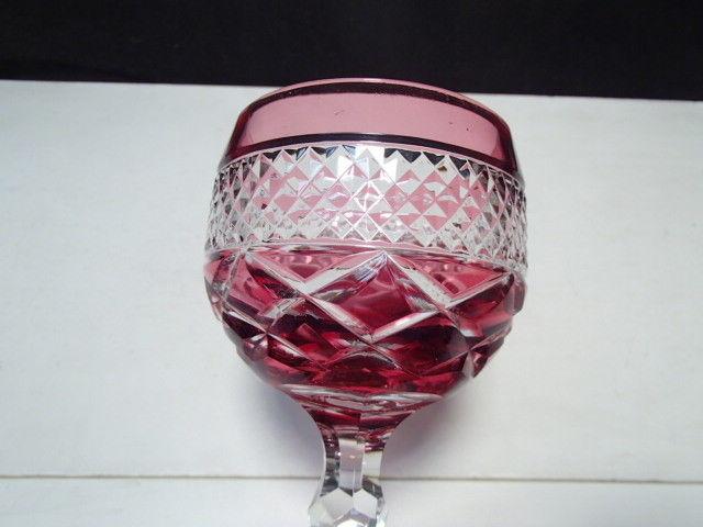 1 Nachtmann Ajka ?  Hand Cut Cranberry Wine Goblets ~ label ~ W. Germany