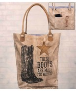 These Boots are Made for Walkin' Soft Canvas + Leather Tote Bag Outside ... - $35.95