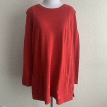 J.Jill Womens Red Pullover Two Pockets Long Sleeve Sweater Size Medium T... - $28.05