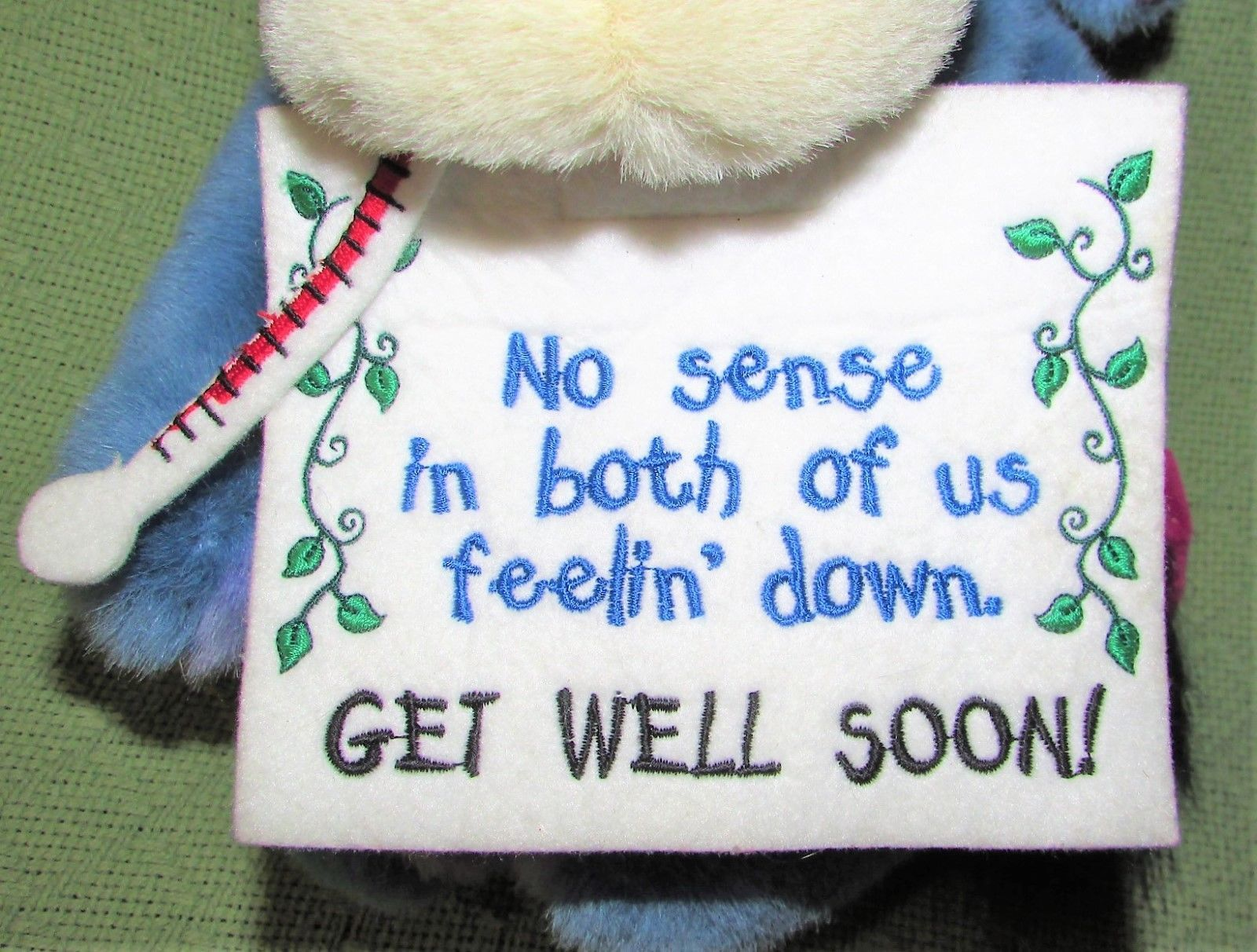"EEYORE Get Well Plush ICE BAG Thermometer Sign 13"" Plush Stuffed Pooh Disney Toy image 2"