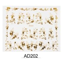 "HS Store - 1 pcs Gold Metal ""AD202"" 3D Dazzling Nail Art Sticker DIY  - $2.69"