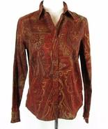 CHAPS Size M 8 10 Fall Paisley Cotton Blouse Button Down Top - $17.99