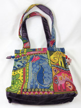 Laurel Burch Tapestry Sequined Animal Canvas Purse Bag Tote Handbag Zipp... - $29.99