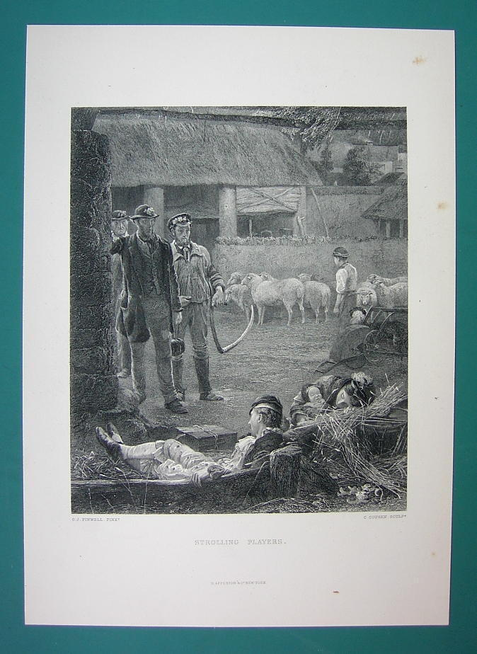 FARMYARD Laborers Return from Work Guests Sleep in Barn - 1875 Antique Print
