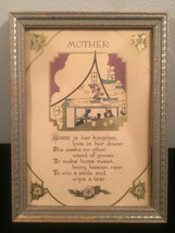 """Vintage 30s silvery wood ornate 5"""" x 7"""" frame with vintage """"Mother"""" art image 3"""