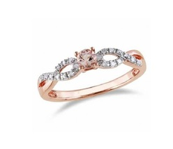 Infinity Style Wedding Ring Rose Gold Plated 925 Silver Round Cut Pink Morganite - $65.78