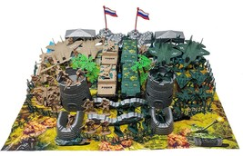 88 Piece Army Man Playset with Vehicles Jets Watch Tower and Playmat - $21.99