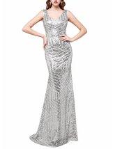 Women Long V-neck Sequins Bridesmaid Dresses Cocktail Evening Gowns Prom Dresses - $118.00