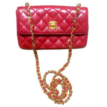 Vintage CHANEL classic mini flap 2.55 shoulder bag in lipstick red lambs... - $2,300.00