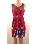 Sleeveless peacock print dress with/sheer top - $21.24