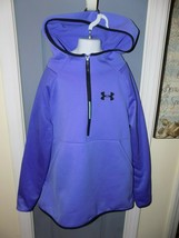 Under Armour Purple/Black 1/4 Zip Cold Gear Pullover Hoodie Size L Girl'... - $21.60