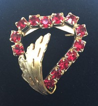 Vintage Garnet / Ruby Colored Rhinestone Heart Brooch with Leaf Accent - $5.93