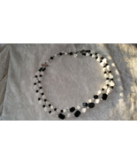black and white Glass geometric shape beads Japan two tier 17 inches so ... - $22.00