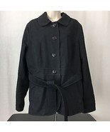 L.L. Bean Womens Denim Jean Jacket Black Cotton Belted Button Front Size L - $46.51