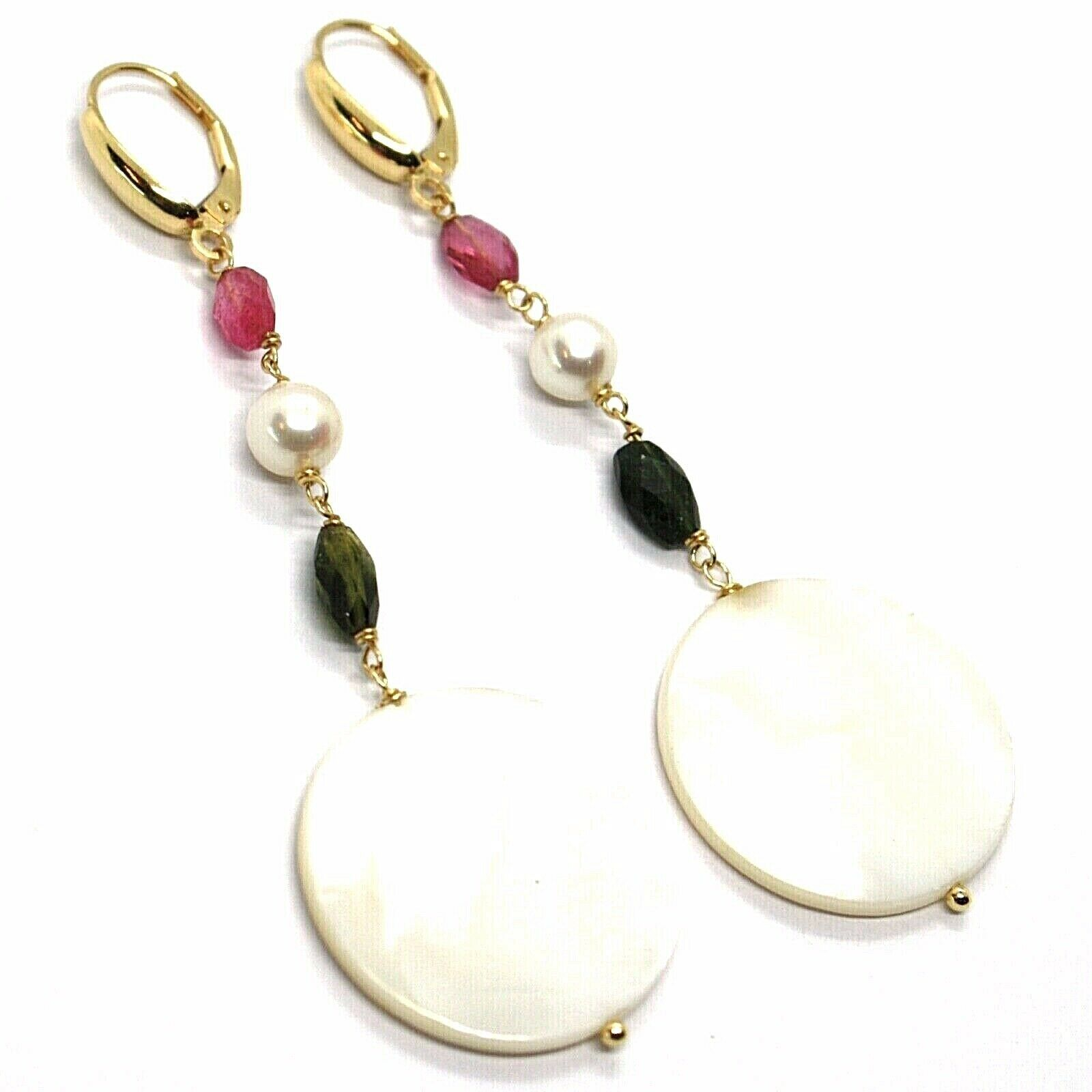 18K YELLOW GOLD PENDANT EARRINGS, MOTHER OF PEARL DISC, GREEN RED TOURMALINE