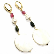 18K YELLOW GOLD PENDANT EARRINGS, MOTHER OF PEARL DISC, GREEN RED TOURMALINE  image 1