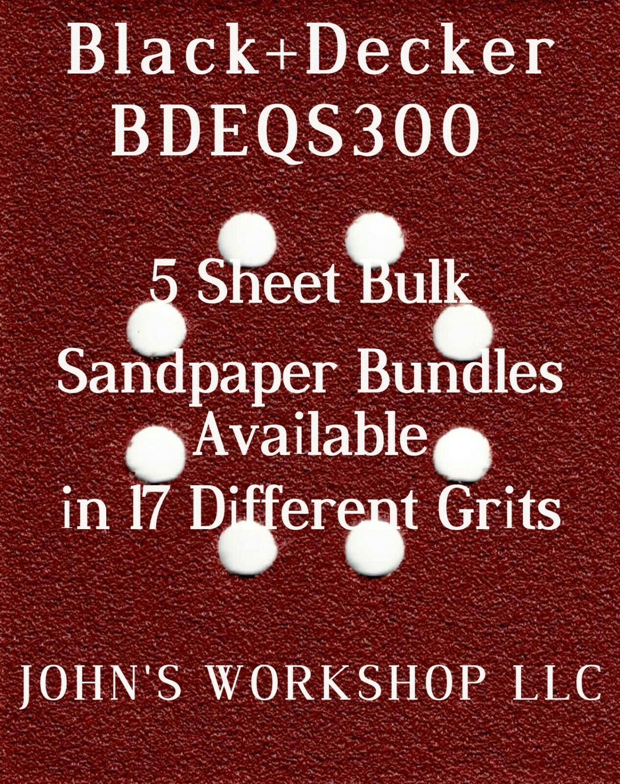 Primary image for Black+Decker BDEQS300 - 1/4 Sheet - 17 Grits - No-Slip - 5 Sandpaper Bulk Bdls