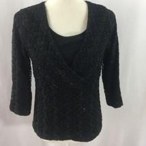 JM Collection Women's Top Size Medium Black Wrap Dressy Career 3/4 Sleeve - $19.15