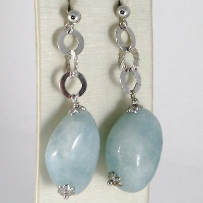 925 STERLING SILVER PENDANT EARRINGS WITH BIG AQUAMARINE NUGGETS 25 MM