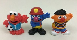 Sesame Street Toy Figures Firefighter Grover Ernie Elmo  3pc Lot Hasbro ... - $18.66
