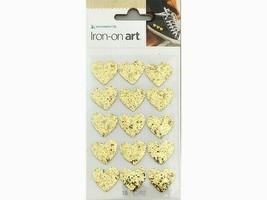 Momenta Iron-on Art, Glittered Gold Hearts, Set of 15 #36013