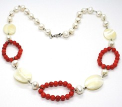 SILVER 925 NECKLACE, CIRCLES CORAL, NACRE OVAL AND WHITE PEARLS - $176.31
