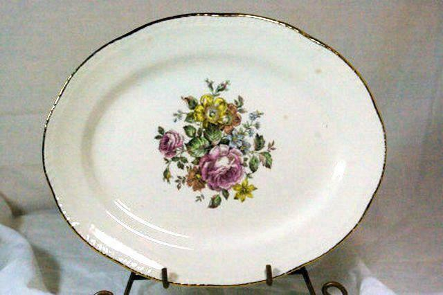"""Homer Laughlin L49N6 Pink Yellow Floral Oval Platter 11 1/2"""""""