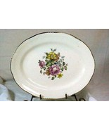 "Homer Laughlin L49N6 Pink Yellow Floral Oval Platter 11 1/2"" - $9.32"