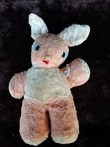 "Antique Vintage Gund Swedlin plush peach white Bunny Rabbit felt eyes 13"" - $46.10"