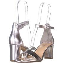 Nine West Pruce Ankle Strap Sandals 647, Silver, 7 US - $26.20