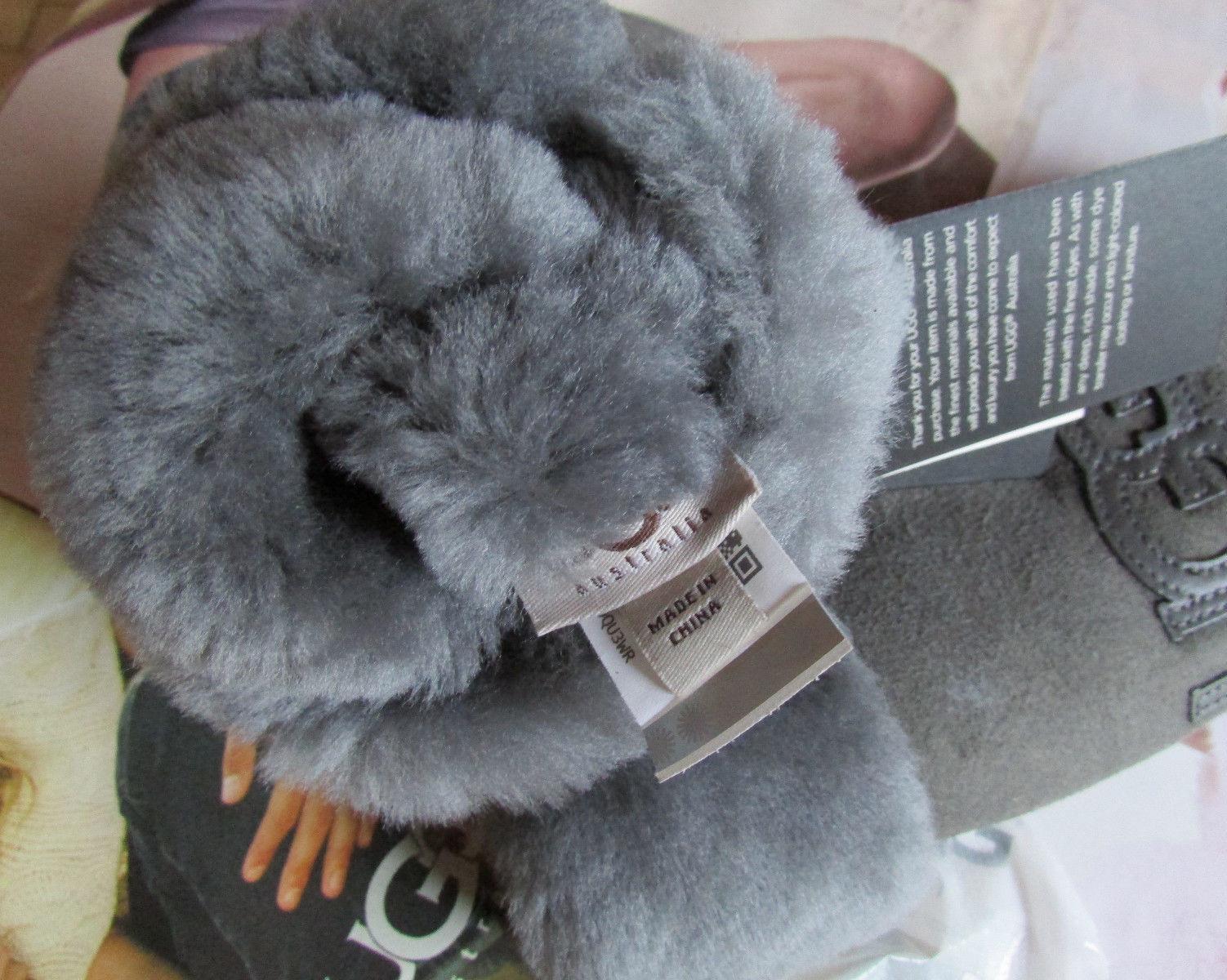 UGG Gloves Mittens Classic Logo Grey Shearling L/XL NEW