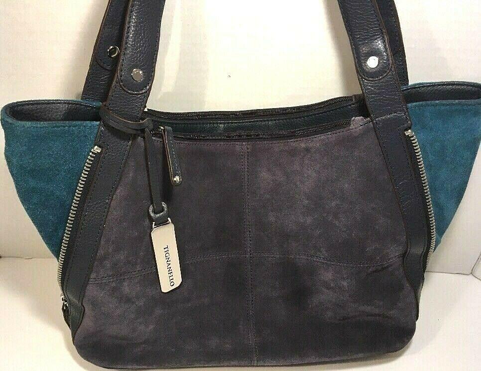 Tignanello Two Tone Blue/ Green Suede Adjustable Shoulder Bag - $38.79