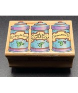 "Hero Arts Tea Canisters Wood Mounted Rubber Stamp C1005 2""X1.25"" - $7.45"