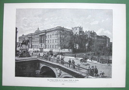 BRLING Former Royal Palace & Lange Bridge - VICTORIAN Original Engraving - $14.53